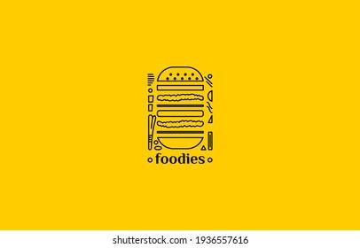 vintage line burger sandwich logo illustration suitable for restaurant or food business