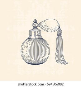 Vintage line drawing illustration of perfume, old-fashioned spray