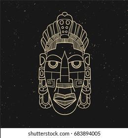 Vintage line old mask. Vector illustration. Hand drawn. Black and gold