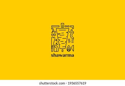 vintage line shawarma kebab doner logo illustration suitable for restaurant or food business