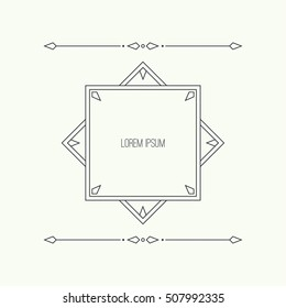 Vintage linear geometric frame with divider. Vector separate border.
