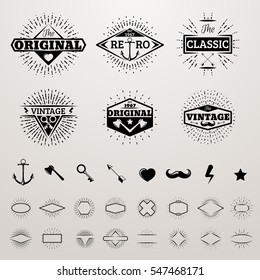 Vintage lines insignia set with star burst. Vector hipster printing bursting retro logo collection. Ax and key, arrow and heart, mustache and lightning illustration