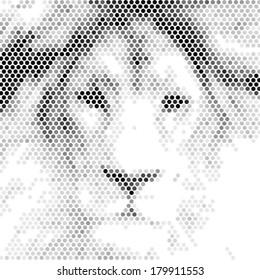 Vintage Lion design. Abstract spotted illustration.