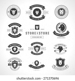 Vintage Lion Logotypes set mascot emblem symbol. Can be used for shirts print, labels, badges, stickers vector illustration.
