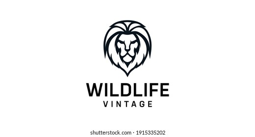 Vintage lion silhouette logo design template. Suit for e-sport, animal, inspiration, brand, identity, icon, and business company