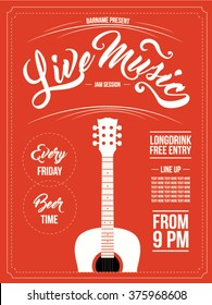 vintage live music poster design for bar and club
