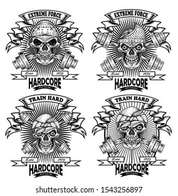 vintage logo angry skull and barbell for Gym/fitness club-vector design