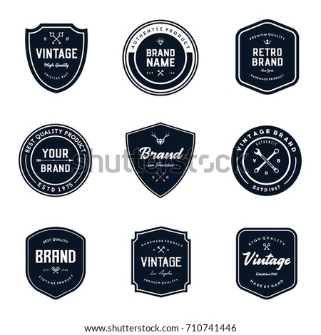 vintage logo badges template set stock vector royalty free
