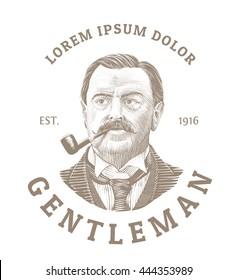 Vintage logo with bold man smoking a pipe. Elegant gentleman logo in vintage etching style.