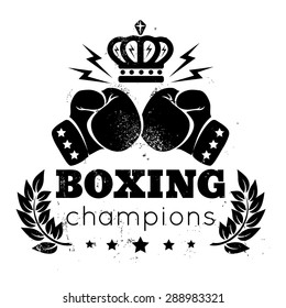 Vintage logo for a boxing with gloves and crown