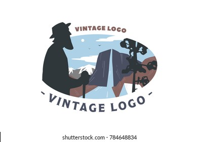 Vintage logo elder and Mountain landscape. Flat illustration of elder with landscape, mountains and river.
