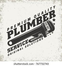 Vintage logo graphic design, print stamp, plumber typography emblem, Creative design, Vector