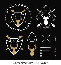 vintage logo hunting labels badges and design elements set