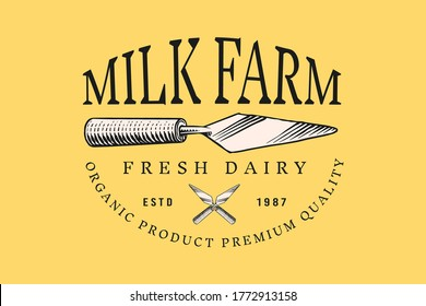 Vintage logo for market or grocery store. Kitchen spatula for cheese. Fresh organic milk farm. Vector Engraved hand drawn sketch for label, emblem, poster or menu.