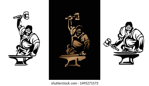 Vintage logo for old forge. Blacksmith with hammer badge, banner forge and sledgehammer
