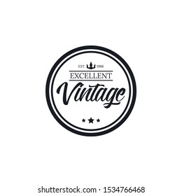 Vintage logo Premium Quality with circle Stamp, Frames, Grunge Design. Icon Art Vector. Old Style Frames, design template insignias logotype. - Vector