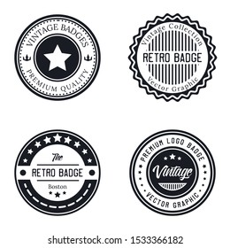 Vintage logo Premium Quality set with circle Stamp, Frames, Grunge Design. Icon Art Vector. Old Style Frames,  design template insignias logotype.