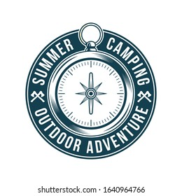 Vintage logo, print apparel design, vector illustration of emblem, patch, badge with classic vintage metal compass for trip, adventure, journey, travel, summer camping, outdoor explore.