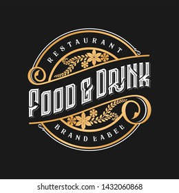 Vintage logo for restaurant food and drink