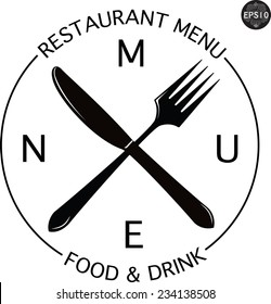 Vintage logo for restaurant menu, with knife and fork vector illustration
