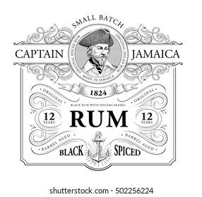Vintage Logo for Rum Label