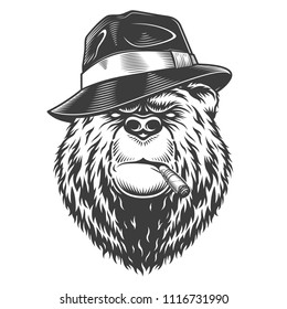 Vintage logo style bear in fedor hat with cigarette. Vector illustration
