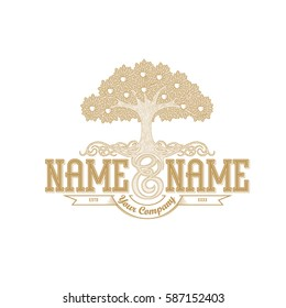 Vintage logo template: an apple tree with luxurious roots