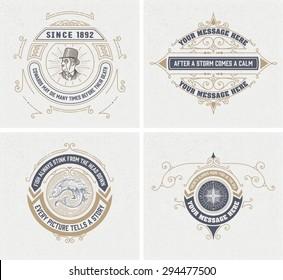 vintage logo templates, Hotel, Restaurant, Business or Boutique Identity. Design with Flourishes Elegant Design Elements. Royalty, Heraldic style .Vector Illustration