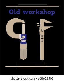 vintage logo with vertical caliper and micrometer