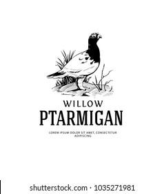 Vintage Logo with Willow Ptarmigan. Alaska State Bird