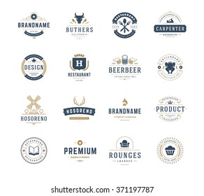 Vintage Logos Design Templates Set. Vector design elements, Logo Elements, Logo symbols, Logo Icons, Logos Vector, Symbols Design, Retro Logos. Mill Logo, Restaurant Logo, Ornament Logo, Crown Logo.