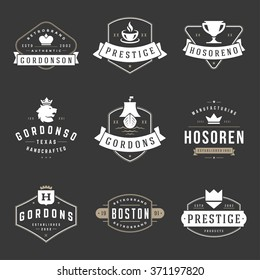 Vintage Logos Design Templates Set. Vector design elements, Logo Elements, Logo symbols, Logo Icons, Logo Vector, Symbols Design, Retro Logos. Lion Logo, Coffee Logo, Ornament Logo, Crown Logo.