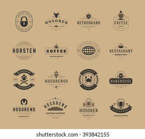 Vintage Logos Design Templates Set, Vector Design Elements. Logo Elements, Logo symbols, Logo Icons, Logos Vector, Symbols Design, Retro Logos. Cow Head Logo, Coffee Label, Ornaments Line, Lock Icon.