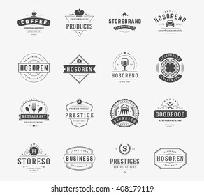 Vintage Logos Design Templates Set. Vector logotypes elements collection, Icons Symbols, Retro Labels, Badges, Silhouettes.