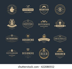 Vintage Logos Design Templates Set. Vector logotypes elements collection, Icons Symbols, Retro Labels, Badges, Silhouettes, Ribbons and Frames.