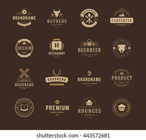Vintage Logos Design Templates Set. Vector Labels Elements Collection, Retro Badges and Silhouettes.