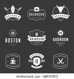 Vintage Logos Design Templates Set. Vector logotypes elements collection, Icons Symbols, Retro Labels, Badges and Silhouettes.