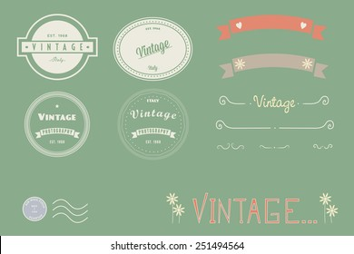 Vintage logos, doodles and banners.