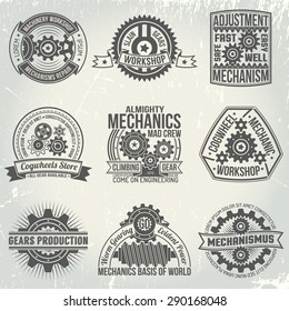 Vintage logos with gears and mechanisms. Emblems on the subject of mechanics in retro style. Background with scratches on a separate layer.