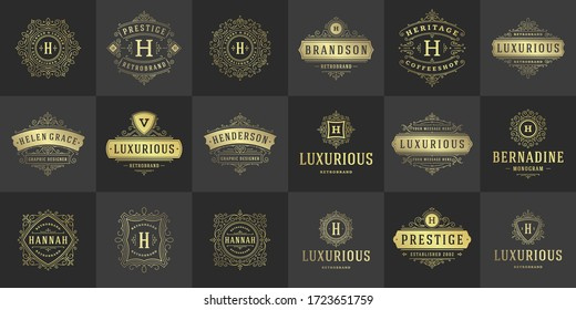 Vintage logos and monograms set elegant flourishes line art graceful ornaments victorian style vector template design. Classic ornate calligraphic for luxury crest royal heraldic boutique, restaurant