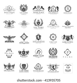 Vintage Logos Set, Crest and luxury brand identity collection with king and royal symbol, Design for hotel, Fashion brand, Beauty and Spa, Law firm, Vip ,Sports club
