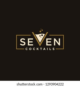 vintage logotype seven Cocktail logo design vector. alcohol drink icon. letter v as cocktail glass vector design template
