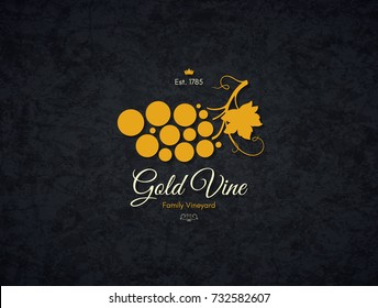 Vintage logotype for winery, vineyard, wine shop, wine list. Food and drinks logotype symbol design. Crumpled vintage paper background