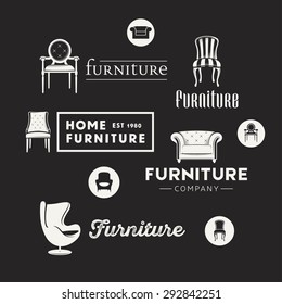 Vintage logotypes for furniture shop, vector Illustrations, badges and icons.