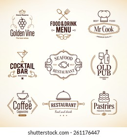 Vintage logotypes and labels design. Logo set for restaurant, cafe and coffee house