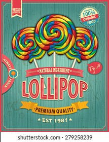 Vintage lollipop candy poster design