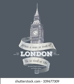 Vintage London graphics with Big Ben for t-shirt and postcard printing | vector illustration