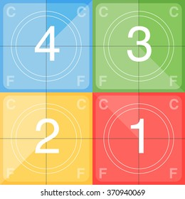 Vintage looking countdown number 4 3 2 1. Retro colorful screen film.  Vector illustration for your design