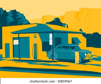 Vintage looking illustration of an old gas station.
