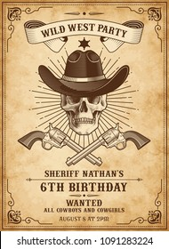 Vintage Looking Invite Template for a Party or Event with wild west or cowboy death theme
